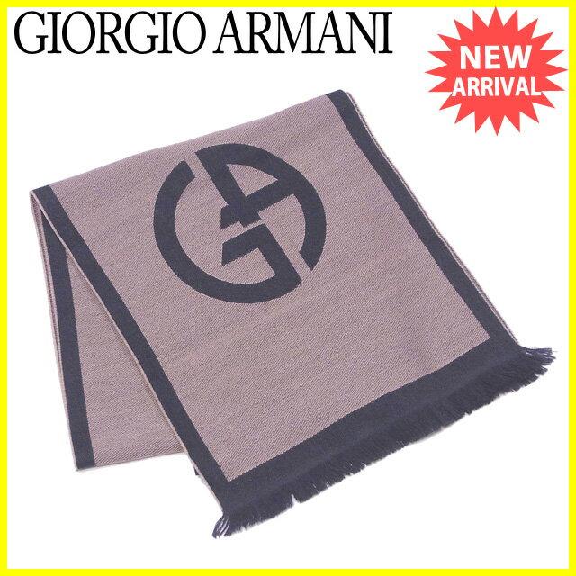 【送料無料】 ジョルジオ アルマーニ GIORGIO ARMANI マフラー フリンジ付き レディース メンズ 可  GAマーク ベージュ×グレー ウール100% 未使用品 訳あり 【未使用】 J20060