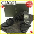 グッチ Gucci サンダル #38C レディース GGキャンバス ブラック キャンバス×レザー 人気 セール 【中古】 J19317