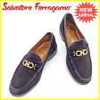 サルヴァトーレ フェラガモ フェラガモ Salvatore Ferragamo ローファー 靴 シューズ #8 メンズ ガンチーニ ブラック×ゴールド スエード 人気 セール 【中古】 J19940 .