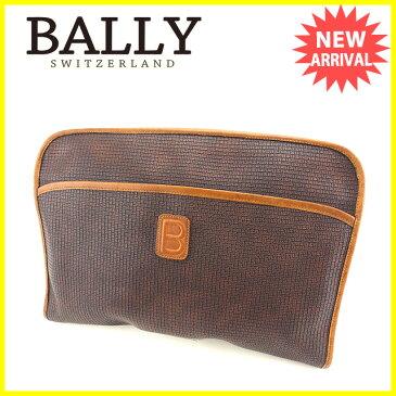 【送料無料】 バリー BALLY ビジネスバッグ 書類ケース B柄 ブラウン×キャメル PVC×レザー 人気 【中古】 C2116