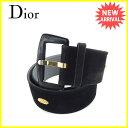 ディオール Christian Dior ベルト #80 レディース ブラック×ゴールド スエード×ゴールド素材×ラインストーン 人気 【中古】 Y6090 .
