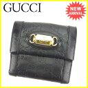 【中古】 【送料無料】 グッチ Wホック財布 二つ折り財布 ブラック×...