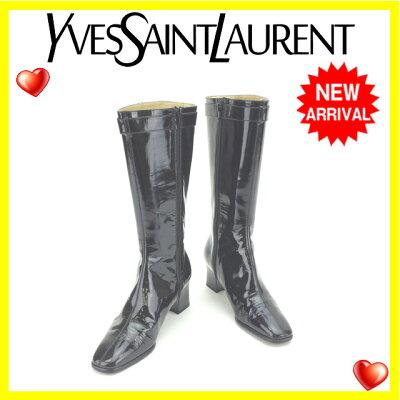 【送料無料】イヴサンローランYvesSaintLaurentブーツロングシューズ靴レディース♯36スクエアトゥブラック×ゴールドエナメルレザー(対応)【】J11186