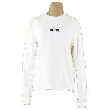 【P10倍】 【中古】 エックスガール スウェット トレーナー トップス ガールズ レディース ♯2サイズ ロゴ ホワイト 白 ブラック 綿 コットン X-girl T19514