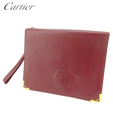 【中古】 カルティエ Cartier クラッチバッグ セカンドバッグ レディース メンズ マストライン ボルドー レザー 人気 セール S954