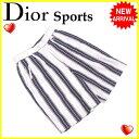 【送料無料】 クリスチャンディオールスポーツ Christian Dior Sports パンツ ハーフ レディース ♯Mサイズ ストライプ ホワイト×ネイビー系 綿/100%(裏地)ポリエステル/100% (あす楽対応)激安 【中古】 G946