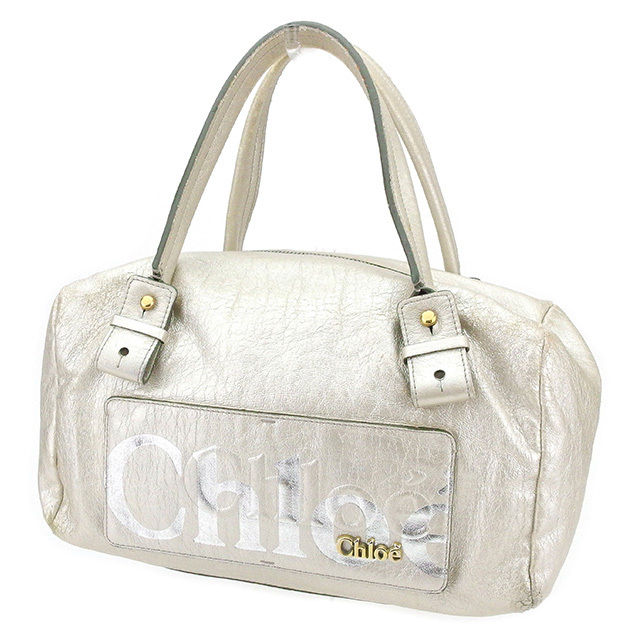 Chloe T4024s . クロエ ボストンバッグ ブラック×ブラウン×ゴールド×シルバー ハンドバッグ 【中古】