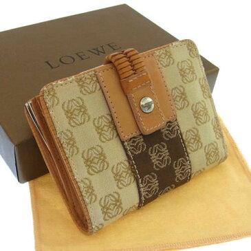 【中古】 【送料無料】 ロエベ がま口財布 二つ折り レディース アナグラム柄 ベージュ×ブラウン系 Loewe B590