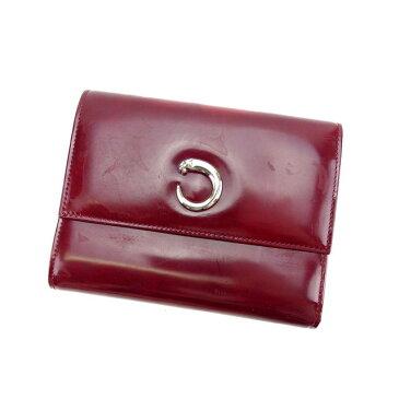 【中古】 カルティエ 三つ折り財布 さいふ パンテール ボルドー×シルバー Cartier 三つ折りサイフ サイフ 財布 さいふ 折りタタミ 三つ折り財布 さいふ 財布 さいふ ユニセックス 小物 1点物 N401