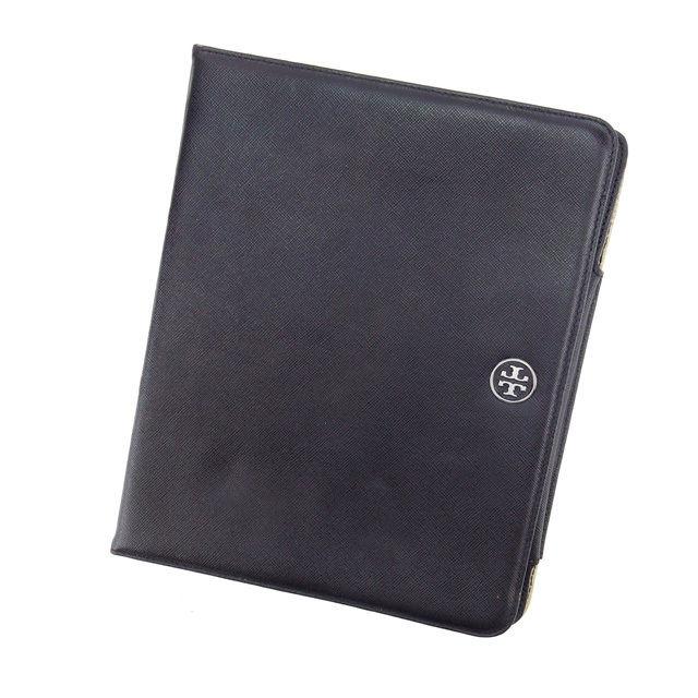【中古】 トリバーチ iPadケース アイパッド ロゴプレート ブラック×ブラックシルバー Tory Burch T12219ブランド