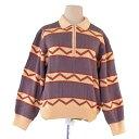 【中古】 【送料無料】 ディオール Dior ニット 長袖 セーター レディース メンズ 可 ♯Lサイズ 柄入り スポーツライン ベージュ×ブラウン ウール毛90%ナイロン10% 良品 T1936 .