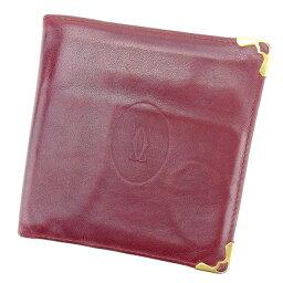 【中古】 二つ折り財布 財布 マストライン ボルドー×ゴールド T2075