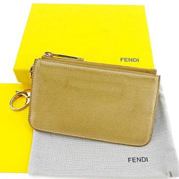 【中古】 【送料無料】 フェンディ コインケース 小銭入れ キーリング付き メンズ可 ベージュ×ゴールド レザー Fendi T3570