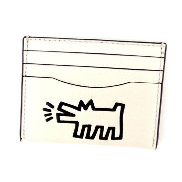 【中古】 【送料無料】 コーチ COACH カードケース 名刺入れ レディース メンズ 可 キースヘリング ホワイト 白 レザー 未使用 T4825 .