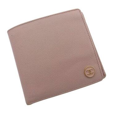 【中古】 【送料無料】 シャネル 二つ折り財布 /小銭入れ有り レディース ココボタン ピンク×ゴールド Chanel Y515