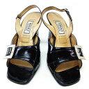 【中古】 【送料無料】 ヴェルサーチ サンダル シューズ 靴 レディース ストーン付きベルト ♯36 スリングバック ブラック×シルバー Versace Y2442 .