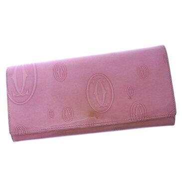 【中古】 【送料無料】 カルティエ 長財布 ファスナー 二つ折り レディース ハッピーバースデー ピンク Cartier Y2477