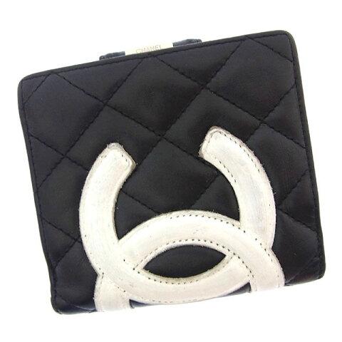 6f879c4f6ed4 【中古】 シャネル Chanel 二つ折り財布 財布 がま口 コンパクトサイズ ブラック×ホワイト×ピンク カンボンライン レディース Y2674s .