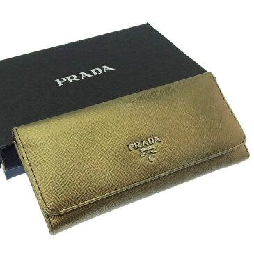 【中古】 【送料無料】 プラダ PRADA 長財布 ファスナー 二つ折り メンズ可 ロゴ 1M1132 ゴールド×シルバー レザー (あす楽対応)激安 人気 Y2787s .