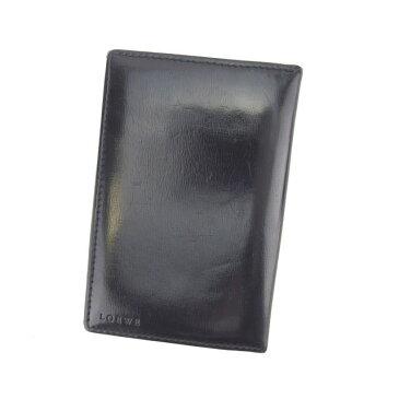 【中古】 【送料無料】 ロエベ カードケース 名刺入れ レディース ロゴ ブラック Loewe Y4151