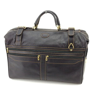 [Sale] [10% off] [Used] Barry Boston Bag Travel Bag Logo Black x Gold x Brown Leather BALLY Back Storage Travel Brand Brand Bag Popular Gift Quick Shipment Stock Disposal Men Women Good Summer 1 Piece Free Shipping T14060 A