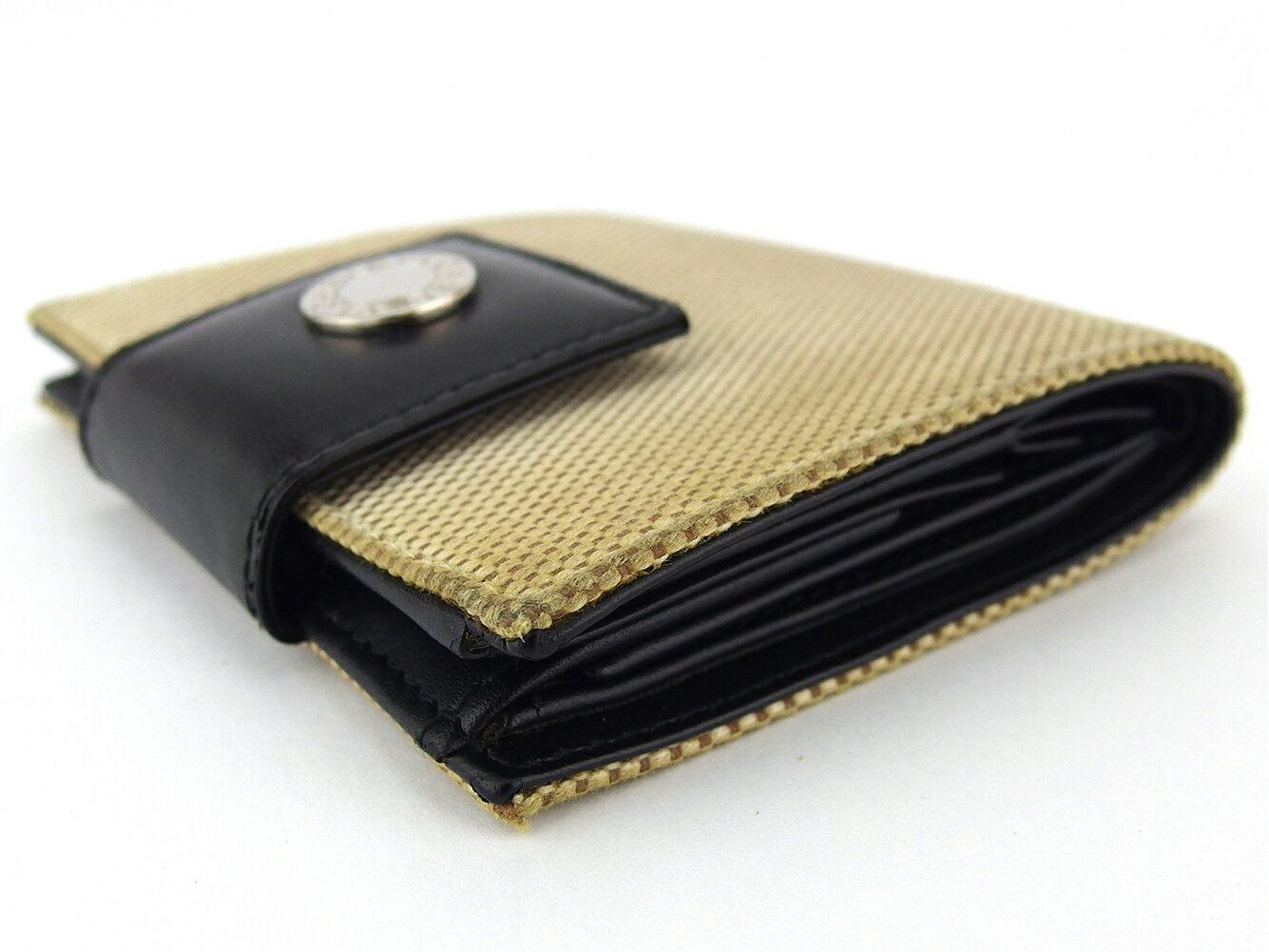 【中古】 ブルガリ 二つ折り 财布 ミニ财布 レディース メンズ ロゴボタン ベージュ ブラック シルバー キャンバス×レザー BVLGARI D2149 A