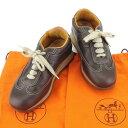 【中古】 【送料無料】 エルメス HERMES スニーカー 靴 シューズ レディース #35 ブラウン レザー 人気 T4959