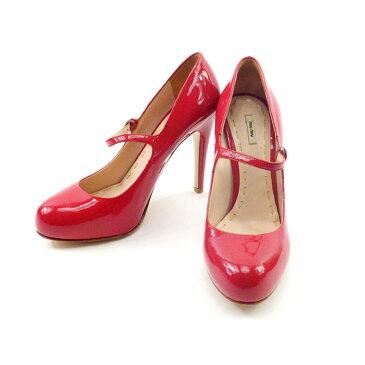 【中古】 【送料無料】 ミュウミュウ miumiu パンプス 靴 シューズ レディース #37ハーフ ピンク系 エナメルレザー 人気 良品 T4666