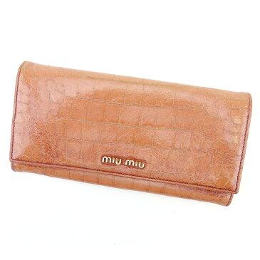 【中古】 【送料無料】 ミュウミュウ miu miu ジップ長財布 二つ折り財布 レディース クロコダイル型押し ピンク レザー 人気 T756