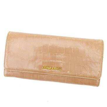 【中古】 【送料無料】 ミュウミュウ miu miu ジップ長財布 二つ折り財布 レディース クロコダイル型押し ピンク レザー 人気 良品 T578