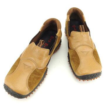 【中古】 【送料無料】 ミュウミュウ miu miu シューズ 靴 メンズ ♯5ハーフ 異素材切替え ベージュ×ブラウン レザー×スエード系 訳あり T871
