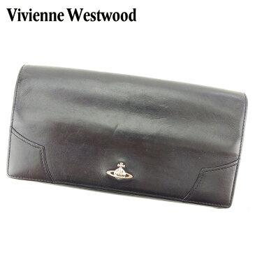 【中古】 ヴィヴィアン ウエストウッド 長財布 さいふ がま口 財布 さいふ オーブ ブラック シルバー系 レザー Vivienne Westwood H586ブランド