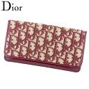 【中古】 ディオール Dior 長札入れ 長財布 レディース トロッター ボルドー ベージュ キャンバス×レザー長札入れ T8141s