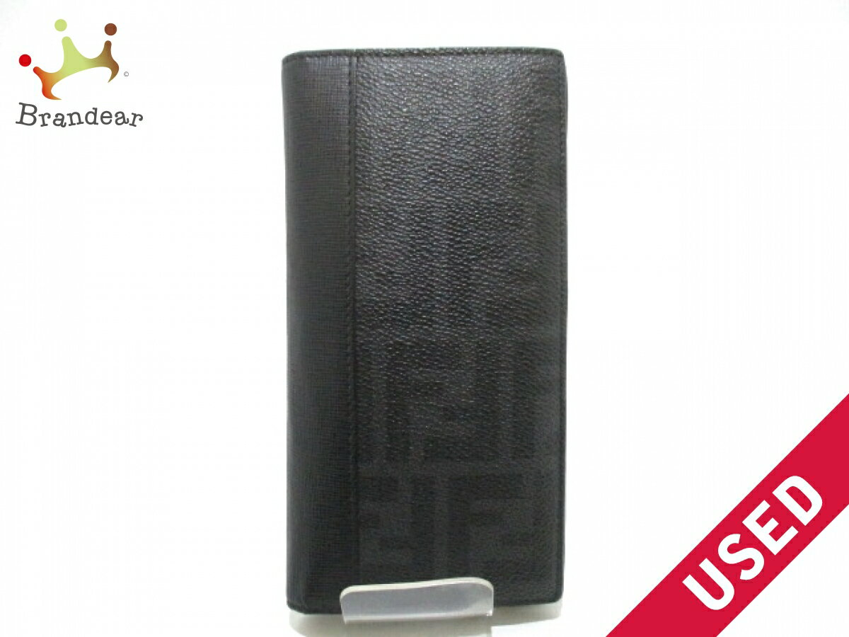 b72dc71cdb53 FENDI(フェンディ) 長財布 ズッカ柄 7M0186 黒×ダークグレー PVC(塩化ビニール)×レザー【】