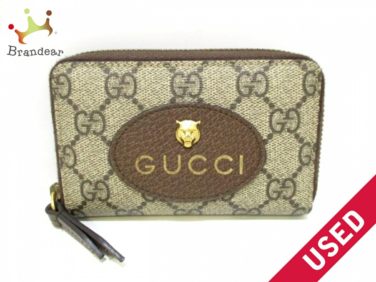 be9aab2a3d021d GUCCI card case GG Supreme 474296 beige dark brown round zipper jacquard  (N877