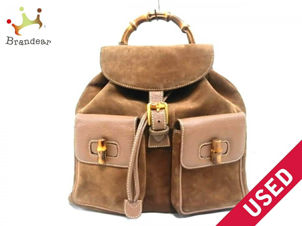 9d2587ed95e Image is loading GUCCI-backpack-bamboo-brown-suede-leather-N1058