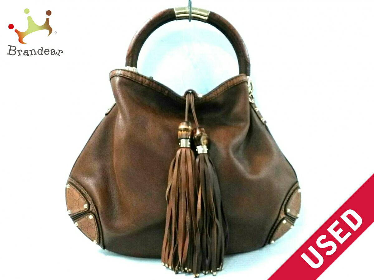 9db7d2541382 Image is loading GUCCI-handbags-Indy-182888-Brown-leather-N1070