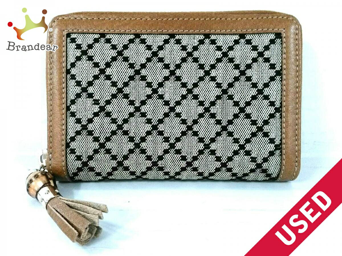 1ede7ea1724 GUCCI 2 fold wallet Diamante Indy 224256 beige jacquard leather ...