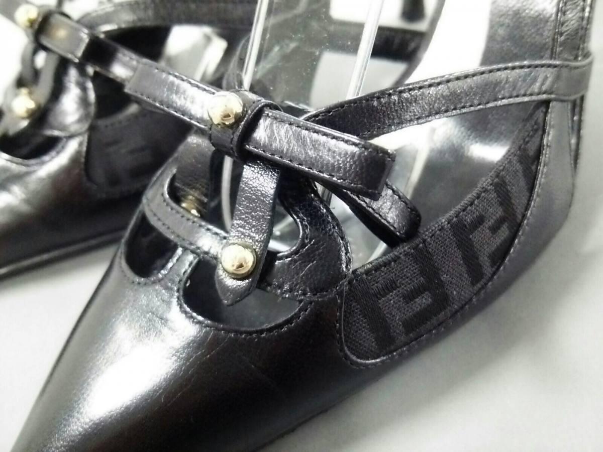 FENDI sandals 35 12 Zucca pattern pattern pattern outsole Chokawa leather nylon jacquard (K24249 cbc45d