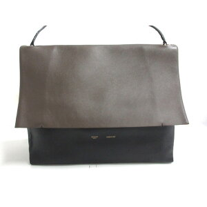 CELINE Shoulder Bag All Soft Dark Gray x Black x Beige Leather x Suede [20200619] [Used] [dfn]