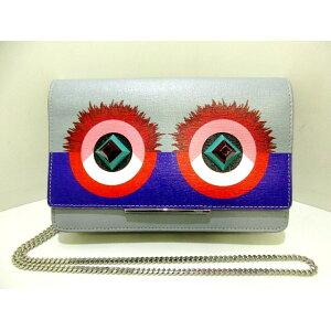 FENDI(フェンディ) 財布 - 8M0346 ライトブルー×マルチ チェーンウォレット レザー×プラスチック×金属素材【20200617】【中古】【dfn】