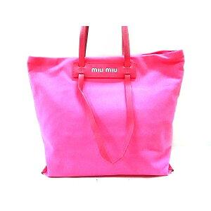 [New] miumiu Tote Bag-5BG116 Pink Canvas x Leather [20200627] [Used]