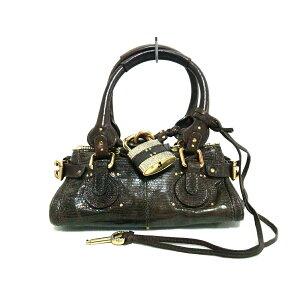 Chloe Handbag Good Condition ■ Mini Paddington Dark Brown Lizard x Leather [20200619] [Used] [dfs]