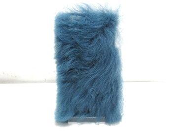miumiu(ミュウミュウ) 携帯電話ケース美品■ - ブルー iPhoneケース シープファー【20200602】【中古】【dfn】
