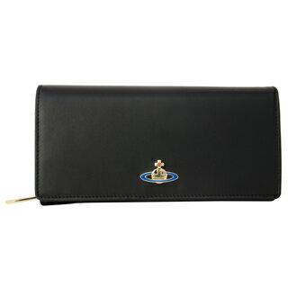 Vivienne Westwood ヴィヴィアンウエストウッド 51060001 N456 二つ折り 長財布 かぶせ蓋 フラップ ウォレットNAPPA BLACK ブラック 黒【あす楽対応_関東】