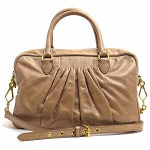 miumiu Handbag Miu Miu RL0048 BAULETTO Hand stitch gather 2WAY Shoulder bag Mini Boston Vintage processing [Used]