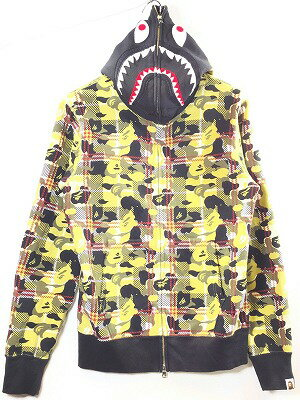 トップス, パーカー A BATHING APE BAPE CHECK SHARK FULL ZIP HOODIE M Y