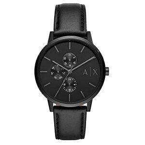 アルマーニエクスチェンジ プレゼント 男 20代 30代 40代 50代 メンズ 腕時計 カレンダー 日付 曜日表示 ブラックレザー 黒 時計