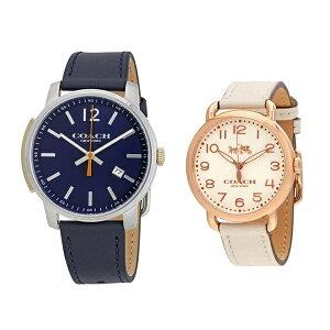 [مع فوائد مجانية] Coach Watch Pair Watch Bleecker & Delancey Navy Ivory Leather Leather 1460234314502716 Birthday Celebration Gift