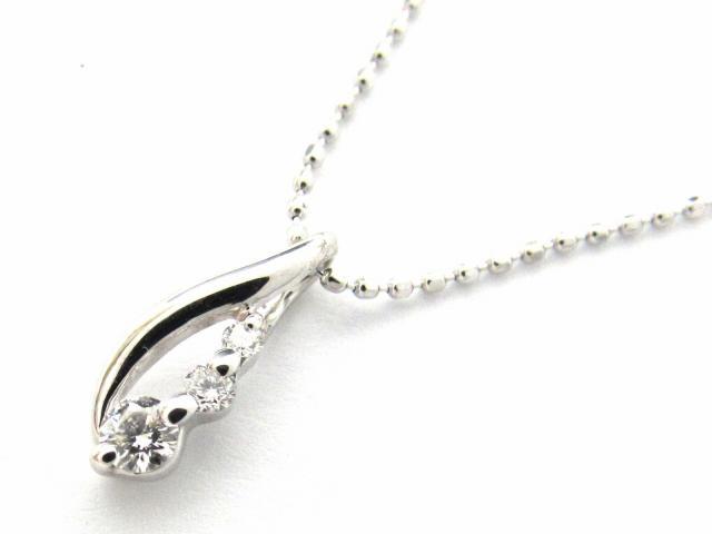 ジュエリー ダイヤモンド ネックレス ノーブランドジュエリー レディース K18WG(750) ホワイトゴールド x ダイヤモンド0.11ct